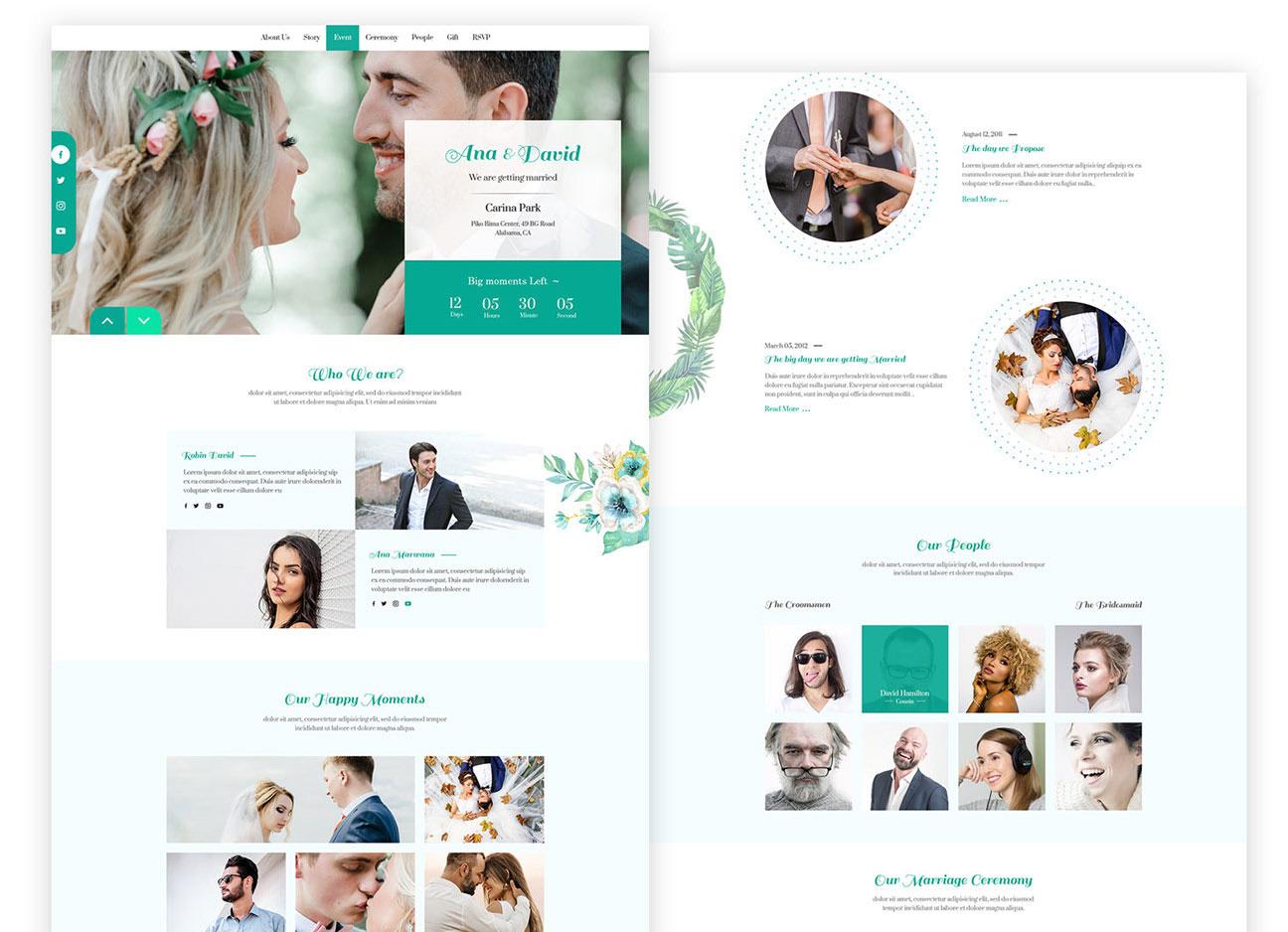 Free Wedding Website Template Psd Psfiles