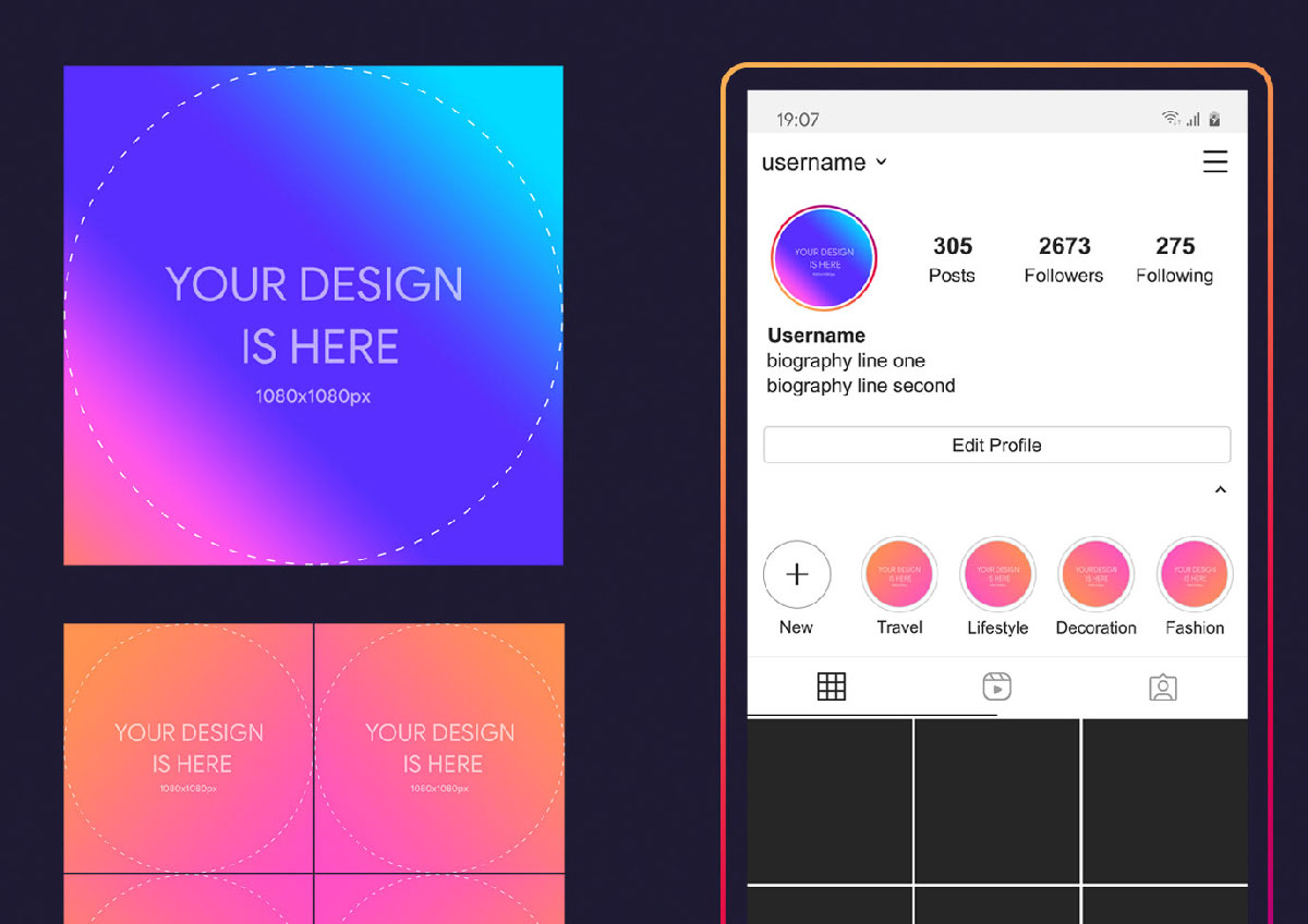 Free Instagram Profile And Story Cover Mockup 2020 Psd Free Photoshop Psfiles